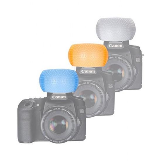 3 Color Pop Up Flash Diffuser Cover For Canon Nikon DSLR Camera